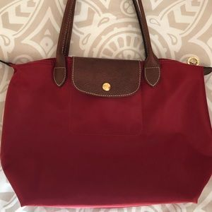 "Longchamp Small ""Le Pliage"" Tote—Red"
